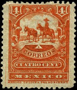 Featured is a photo of a 4c multito 1895 stamp from Mexico ... one of the Latin American countries.